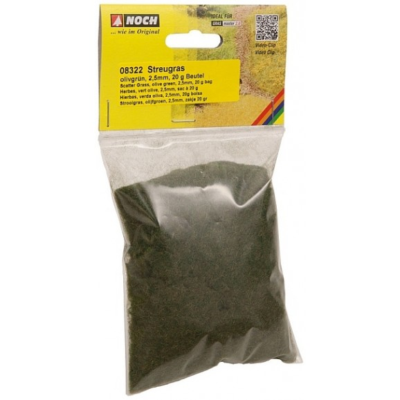 NOCH - 08322 Scatter Grass, olive green, 2.5 mm G,0,H0,TT,N,Z