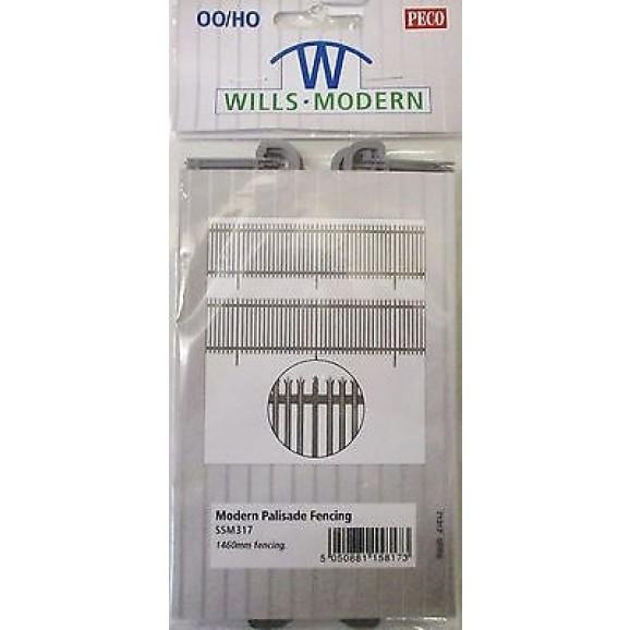WILLS - SSM317 - MODERN PALISADE FENCING (HO SCALE)