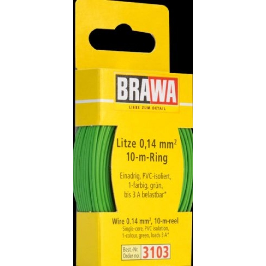 BRAWA - 3103 - Wire 0,14 mmý, 10 m ring, green
