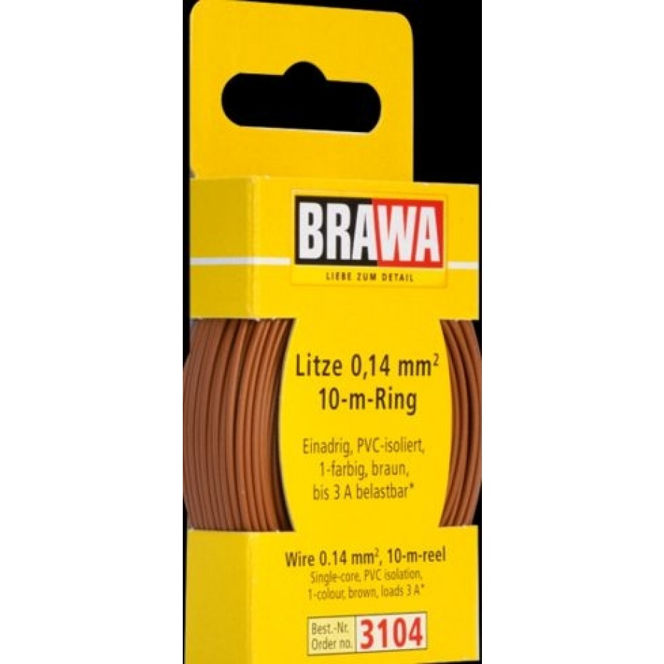 BRAWA - 3104 - Wire 0,14 mmý, 10 m ring, brown