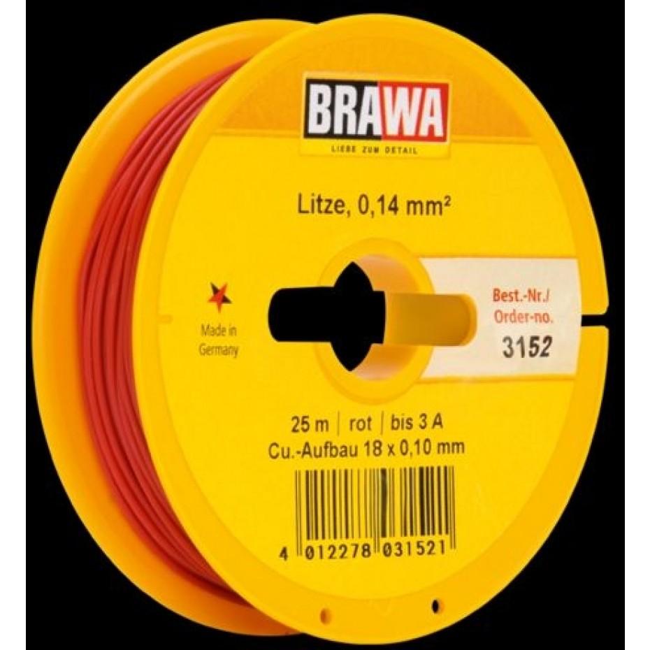 BRAWA - 3152 - Wire 0,14 mmý, 25 m drum, red