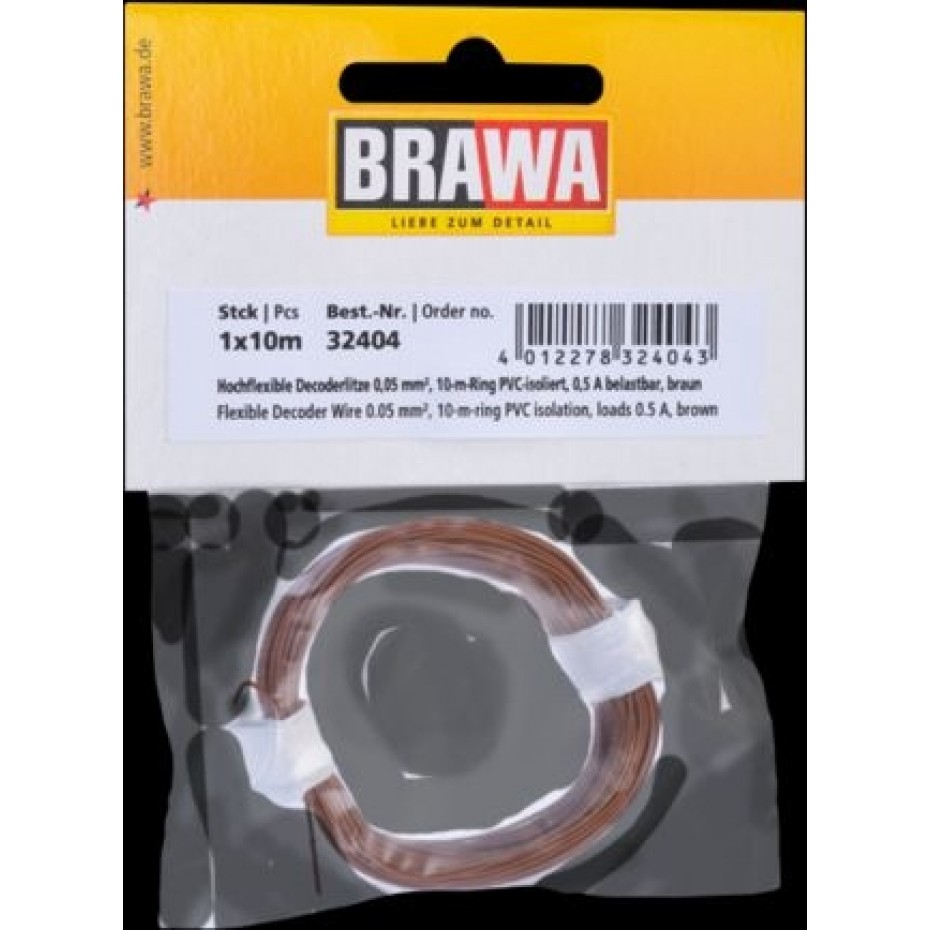 BRAWA - 32404 - Decoder Wire 0,05 mmý, 10 m ring, brown