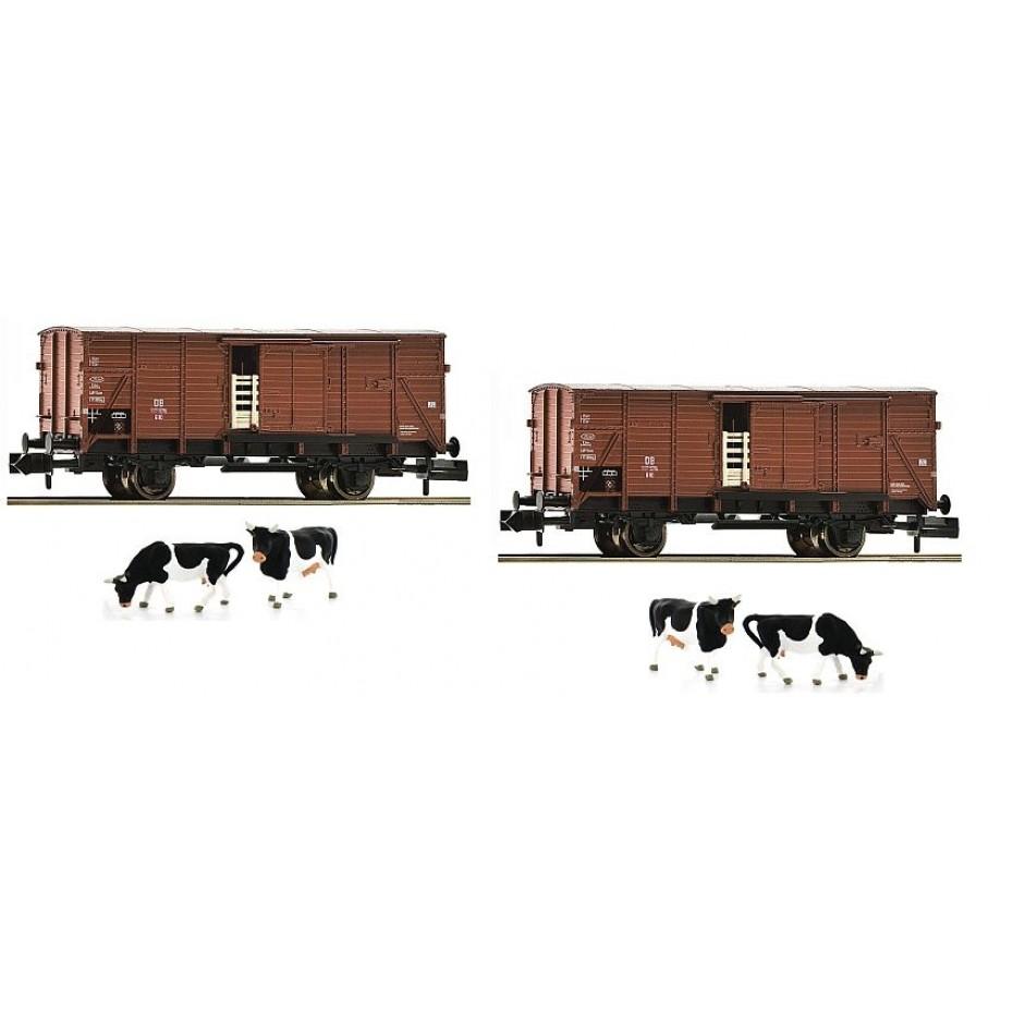 Fleischmann - 881804 - 2 piece set livestock wagons type G10 DB N DB Ep. III DC