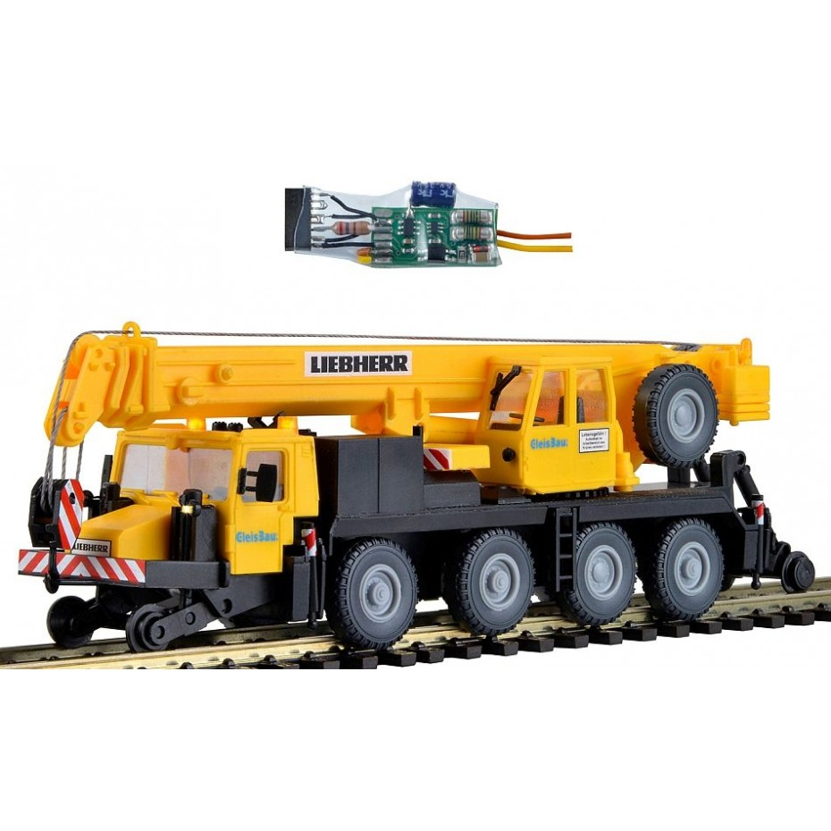 Kibri - 10558 - H0 Two-way mobile crane LTM 1050-4, GleisBau,with LED lighting, functional kit **discontinued**
