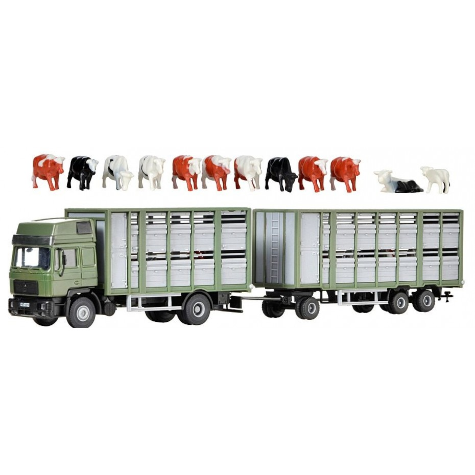 Kibri - 12248 - H0 Cattle carrier with trailer and 12 cows