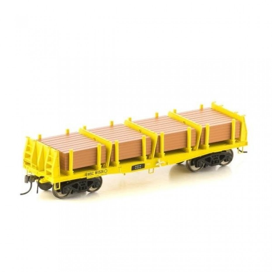 Auscision - NMW3 - WSC Sleeper Wagon, Yellow with Sleeper Load - 4 Car Pack HO Scale