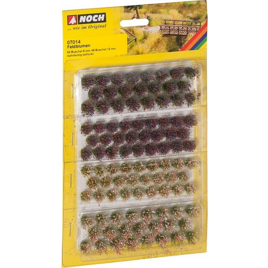 NOCH - 07014 - (d)Grass Tufts Wild Flowers 52 pieces, 6 mm and 46 pieces 12 mm G,0,H0,TT,N,Z