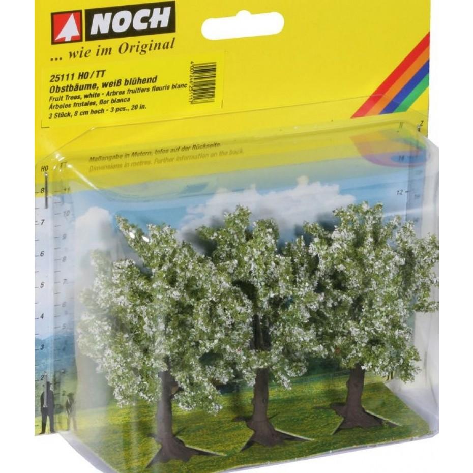 NOCH - 25111 - Fruit Trees white blossom, 3 pieces, 8 cm high H0,TT