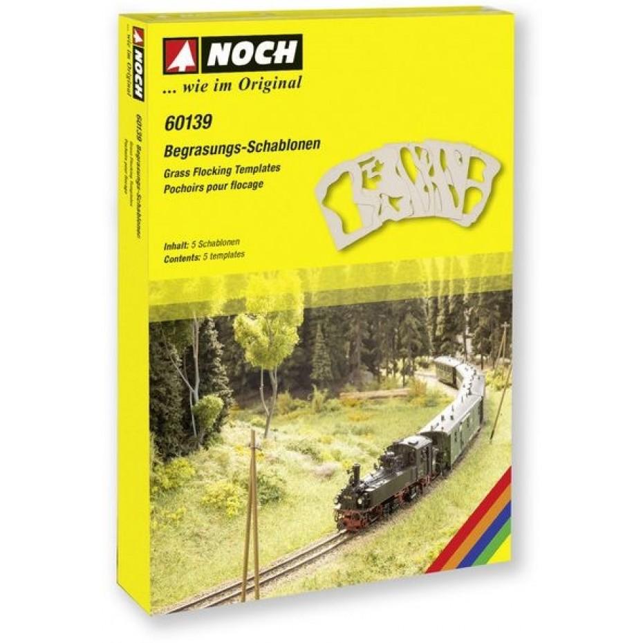 NOCH - 60139 - Grass Flocking Templates 5 pieces G,0,H0,TT,N,Z SCALE