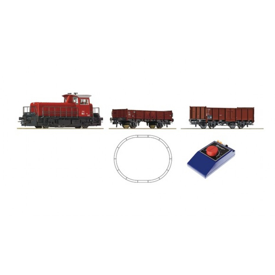 ROCO-51155(d)-Analogue Starter Set small diesel locomotive with freight cars (HO SCALE)