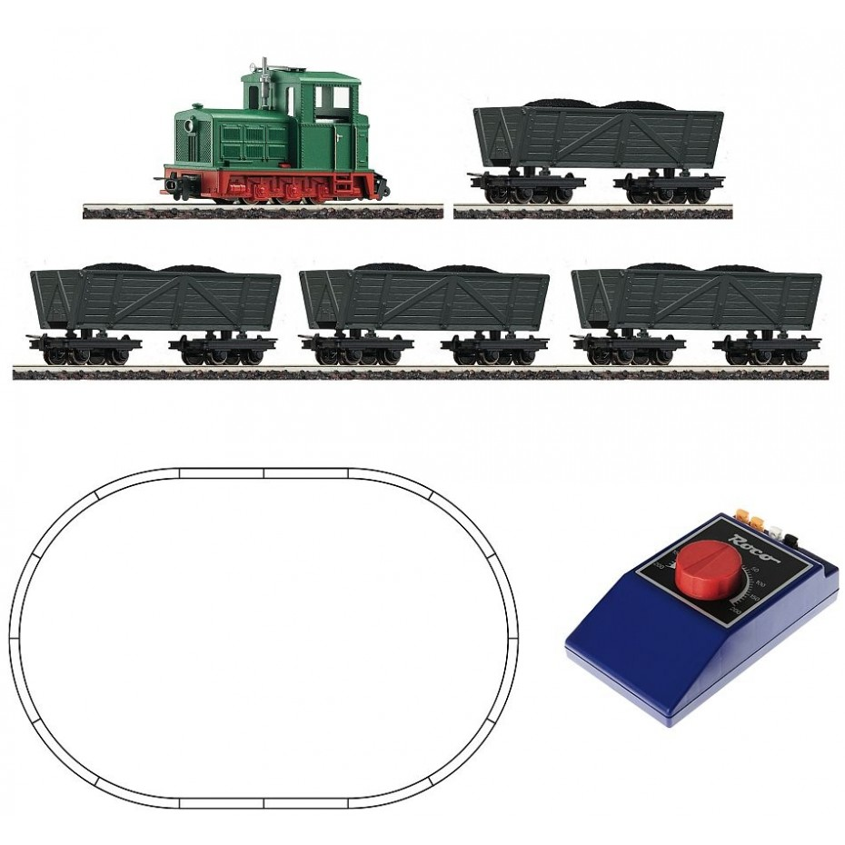 Roco - 31034 - Analogue start set: Light railway diesel locomotive with tipper wagon train HOe Scale