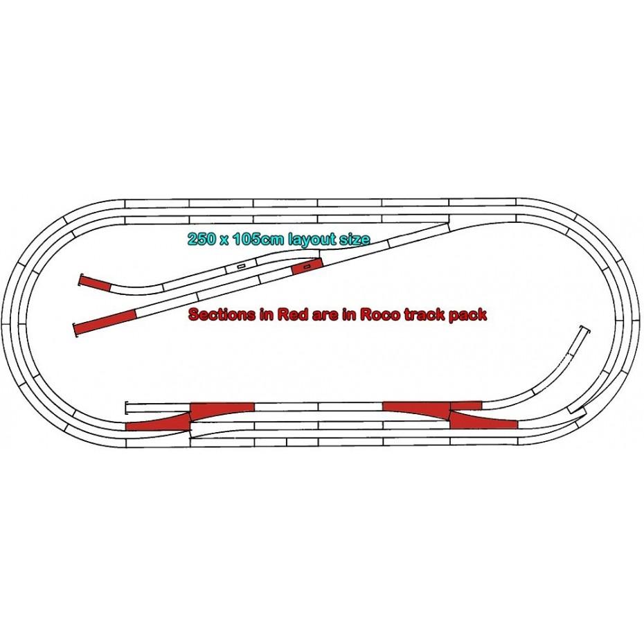 ROCO - 42013 - Track set E Roco Line w.Bedding HO scale
