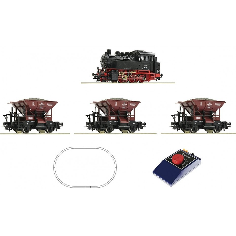 ROCO - 51159 - Analogue Start Set: Steam locomotive class 80 with wagon train DB DC H0 358mm Radius