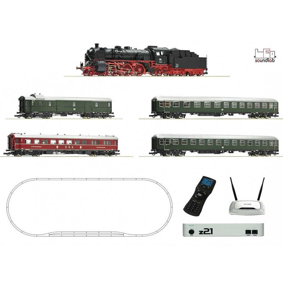 ROCO - 51313 - z21® Digitalset: Steam locomotive class 18.6 with fast train DB Ep III DCC SOUND H0 435mm Radius