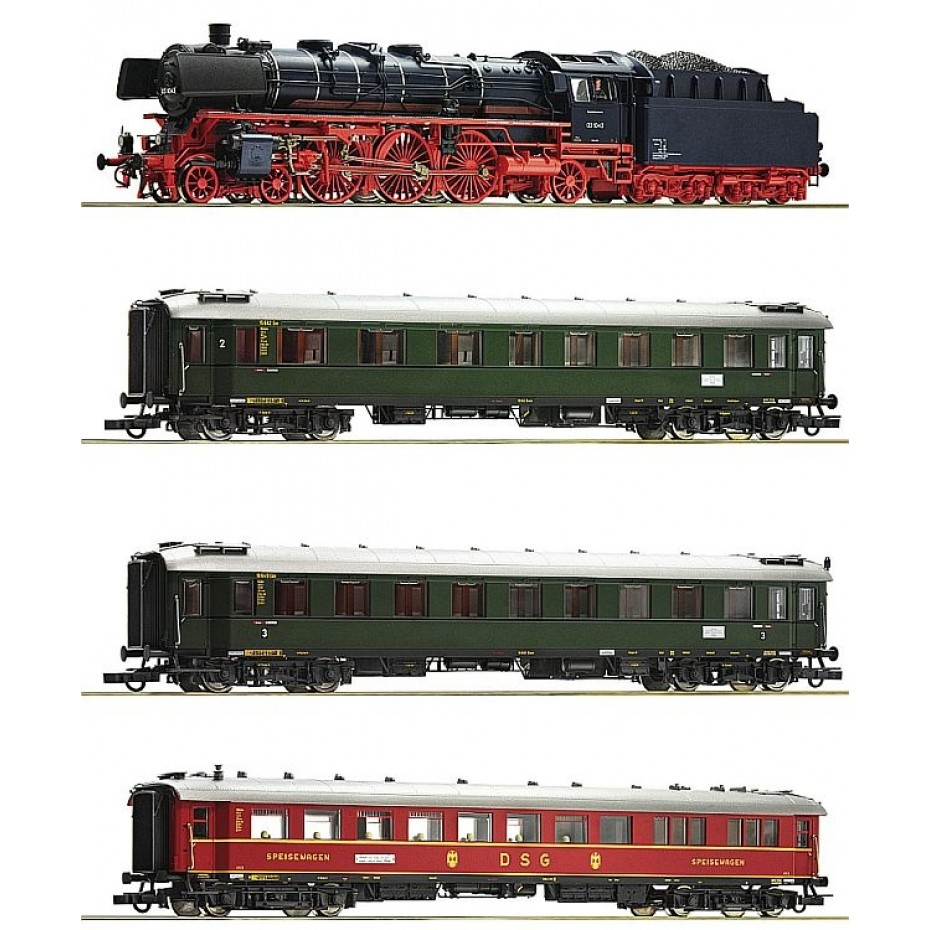 ROCO - 61474 - 4 piece set: Steam loco  cl 03.10 and fast train DB Ep III DCC SOUND H0