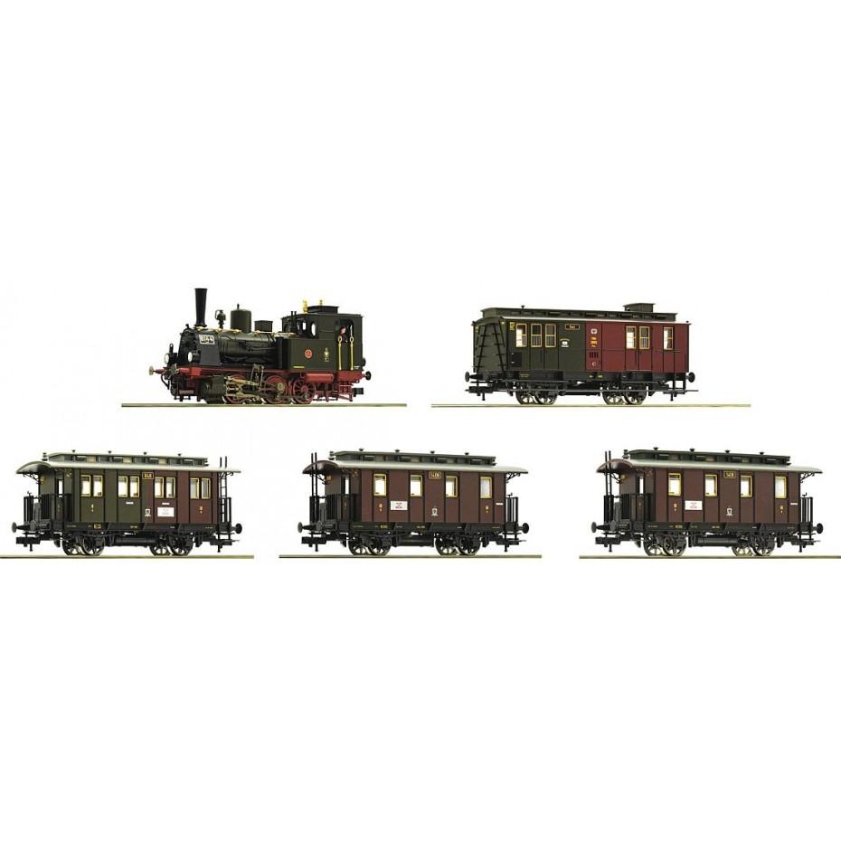 ROCO - 61475 - Steam locomotive T3 and passenger cars K.P.E.V. Ep I DC H0 358mm Radius
