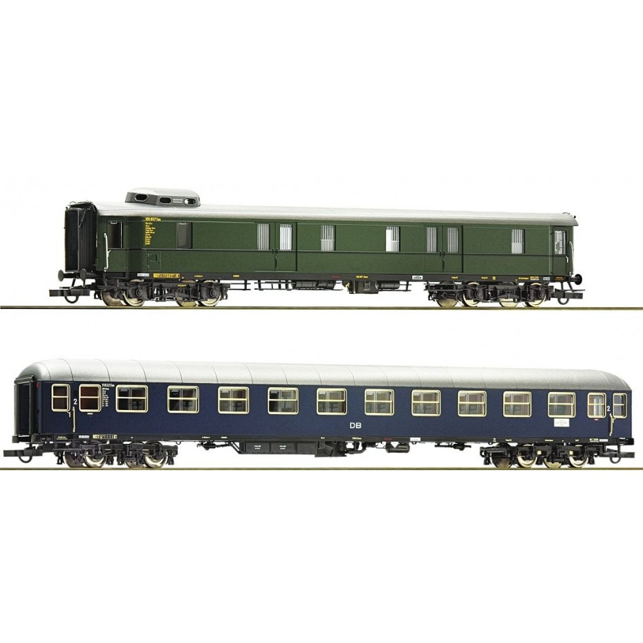 ROCO - 74098 - 2 piece set: Fast train cars DB DB Ep III DC H0