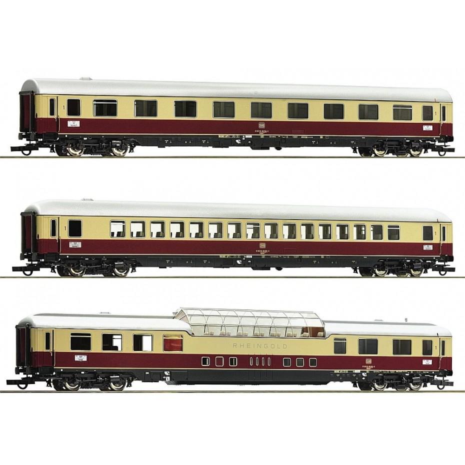 ROCO - 74136 - 3 piece set 2: Passenger cars Rheingold DB DB Ep. IV DC H0