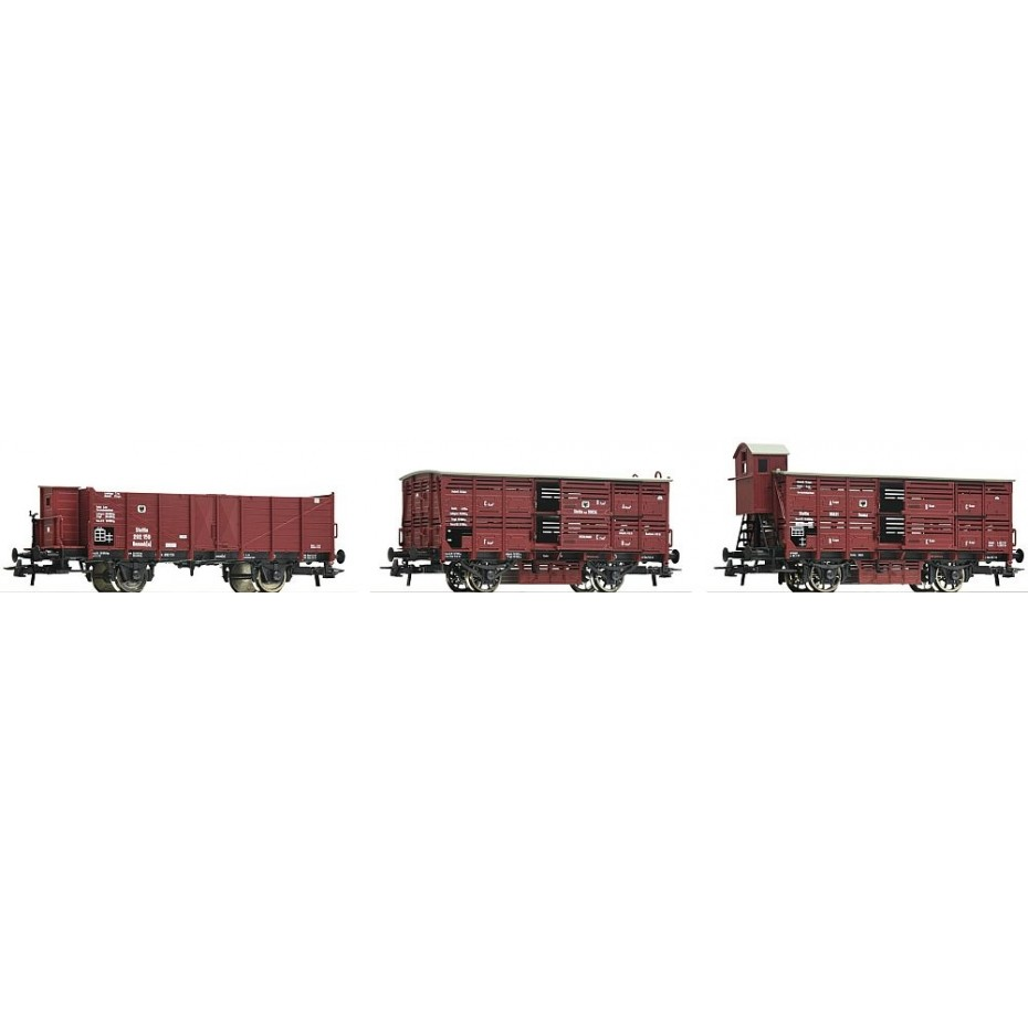 Roco - 76060 - 3 piece set: Goods wagons KPEV ep.I HO Scale