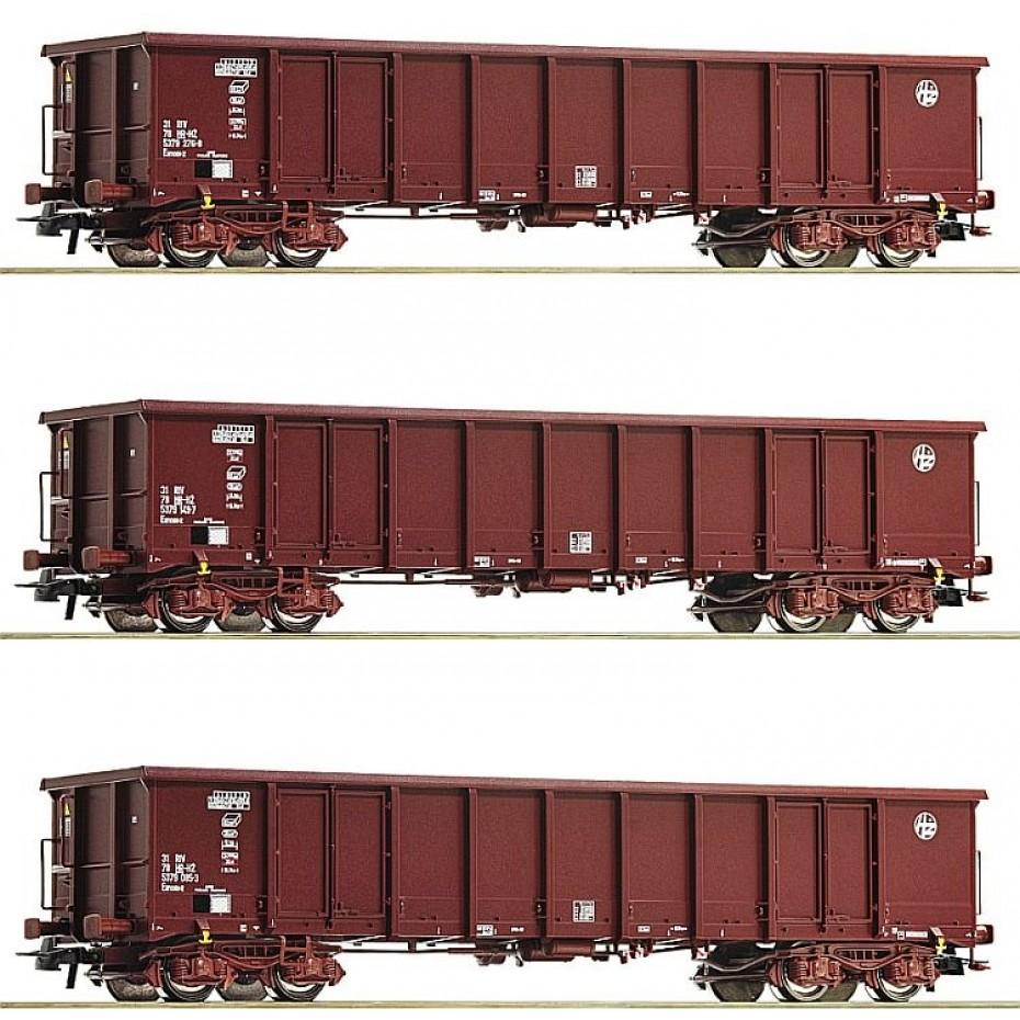 Roco - 76091 - 3 piece set: Gondolas HZ Cargo ep.VI HO Scale
