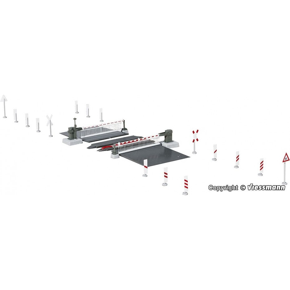 Viessmann - 5104 - H0 Level crossing with decorated barriers,fully automatic