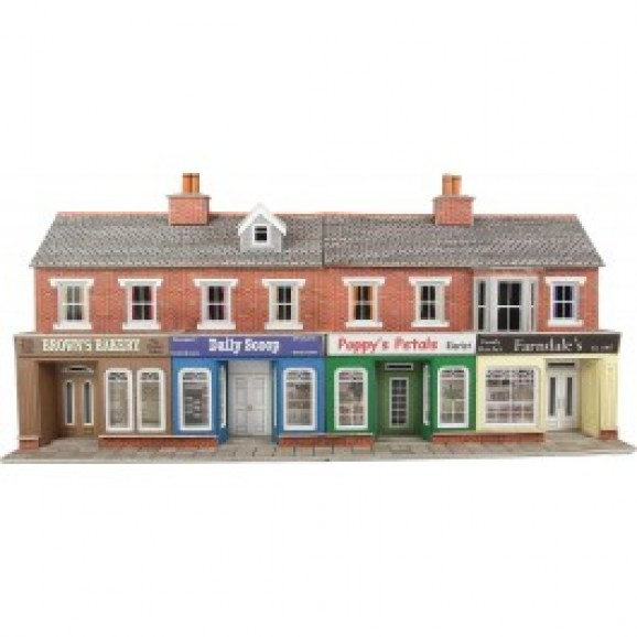 METCALFE - PO272 - LOW RELIEF RED BRICK SHOPS (HO/OO SCALE)