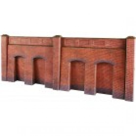 METCALFE - PO244 - RETAINER WALL RED BRICK (HO / OO SCALE)