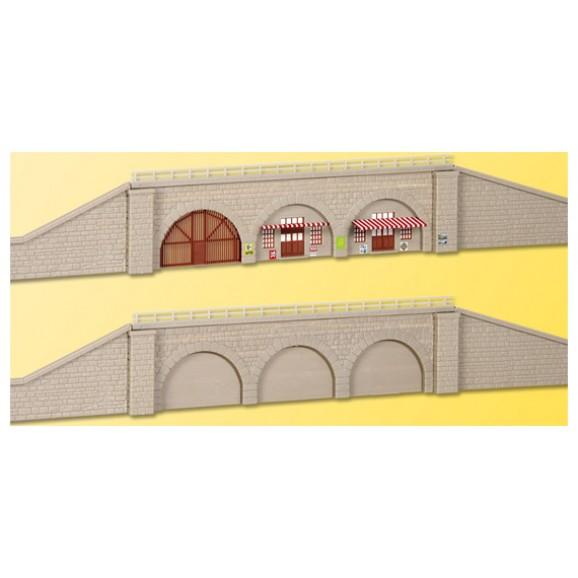 KIBRI - 37671 - N/Z Railway embankment with retaining walls,2 pcs. (N SCALE)