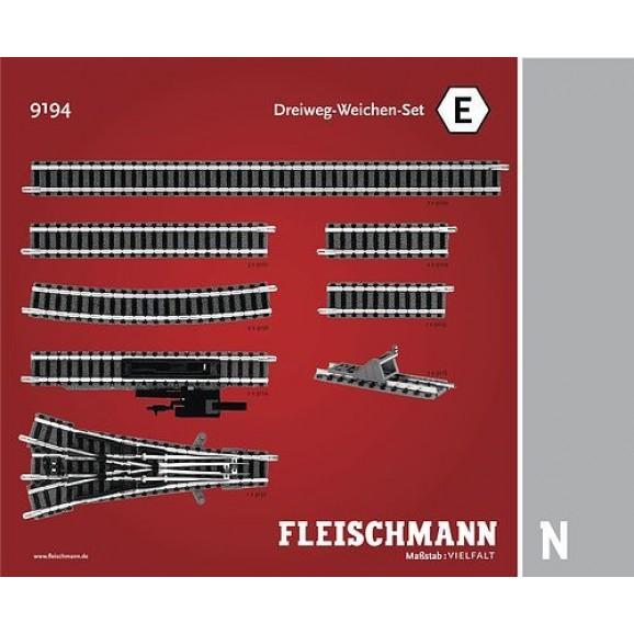 FLEISCHMANN - 9194 - Set: 3-way turnouts E N Scale