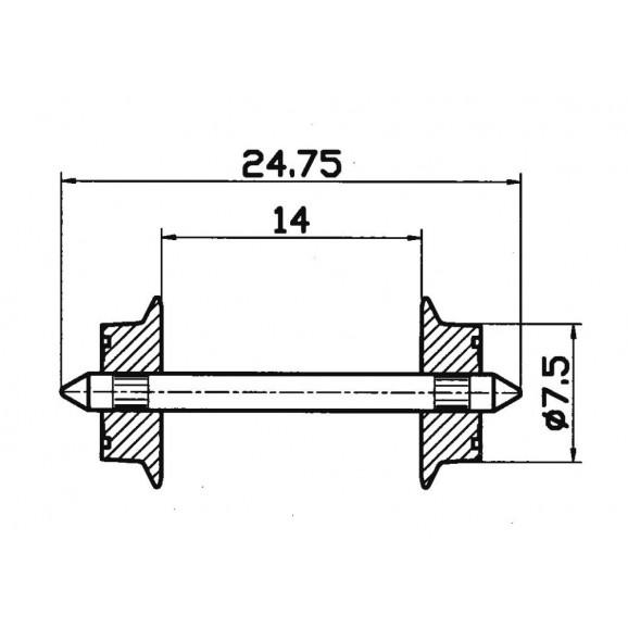 ROCO - 40184 - Wheelset 7.5mm, AC HO scale