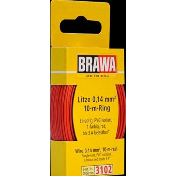 BRAWA - 3102 - Wire 0,14 mmý, 10 m ring, red