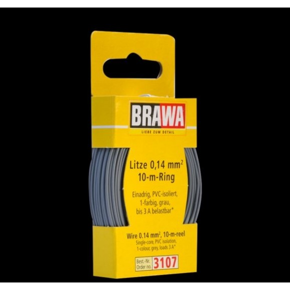 BRAWA - 3107 - Wire 0,14 mmý, 10 m ring, grey