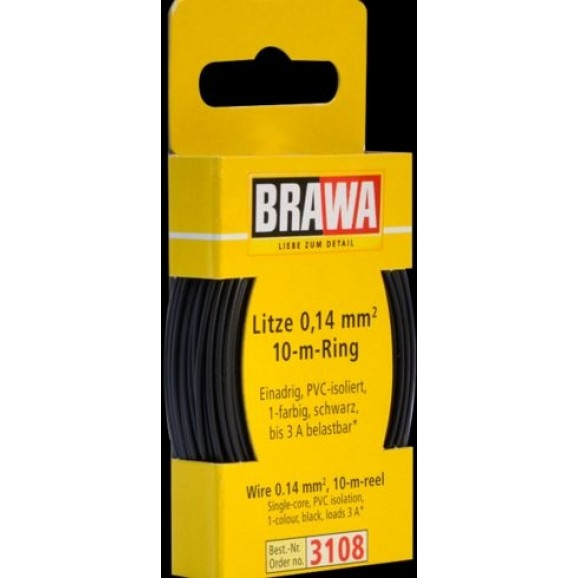BRAWA - 3108 - Wire 0,14 mmý, 10 m ring, Black