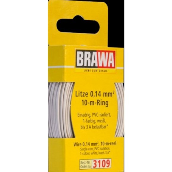 BRAWA - 3109 - Wire 0,14 mmý, 10 m ring, white