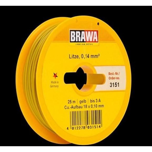 BRAWA - 3151 - Wire 0,14 mmý, 25 m drum, yellow