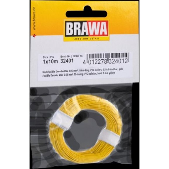 BRAWA - 32401 - Decoder Wire 0,05 mmý, 10 m ring, yellow