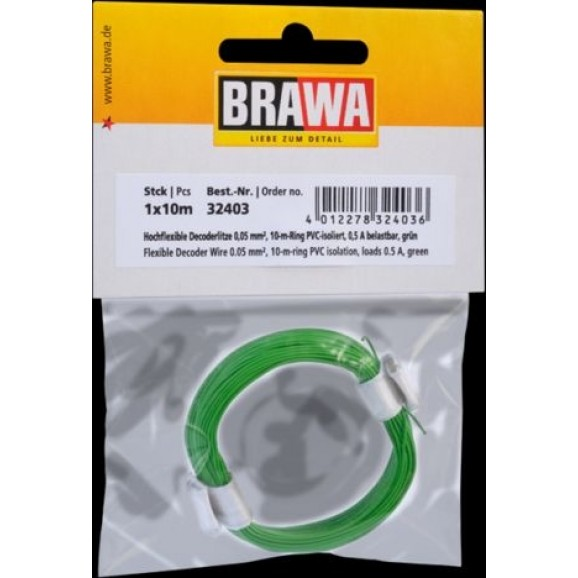 BRAWA - 32403 - Decoder Wire 0,05 mmý, 10 m ring, green