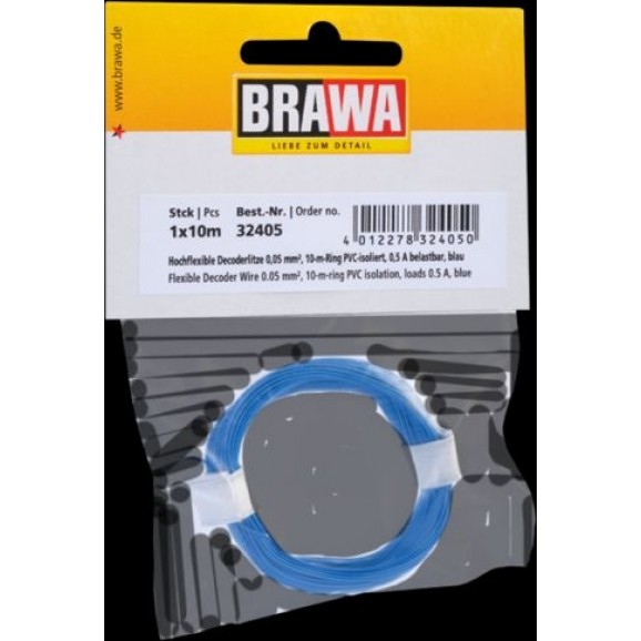 BRAWA - 32405 - Decoder Wire 0,05 mmý, 10 m ring, blue