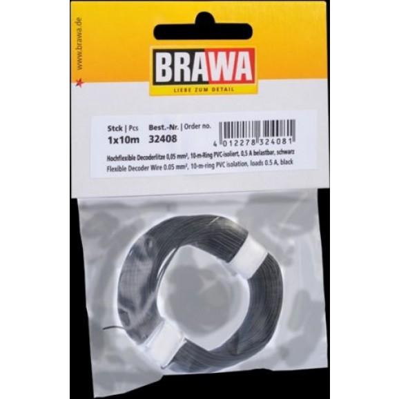 BRAWA - 32408 - Decoder Wire 0,05 mmý, 10 m ring Black
