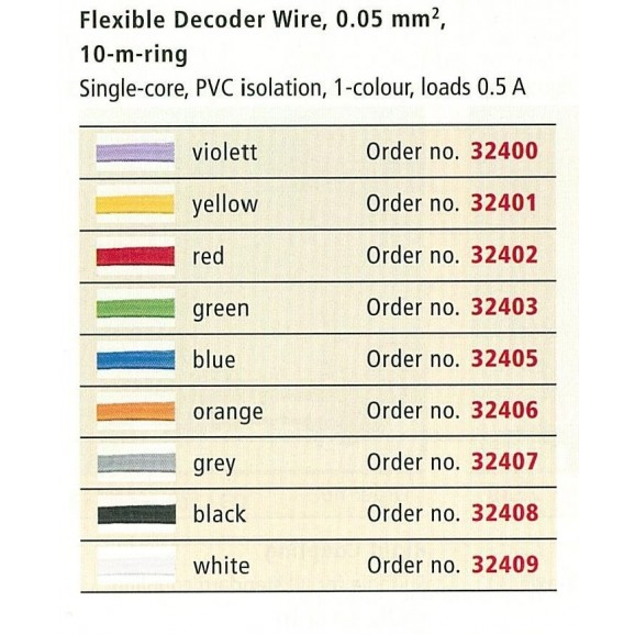 BRAWA - 32409 - Decoder Wire 0,05 mmý, 10 m ring, white