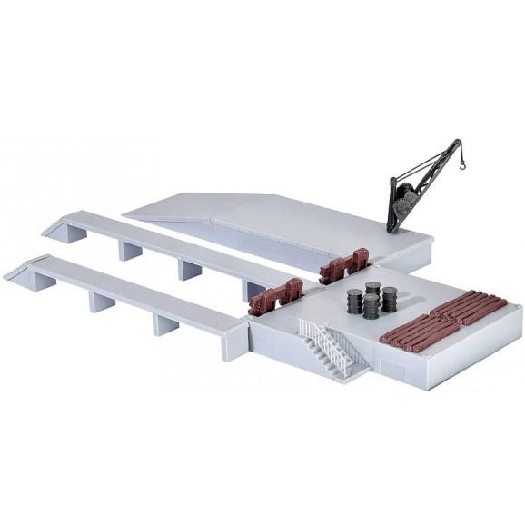 Kibri - 38620 - H0 Deco-set Loading platforms with crane