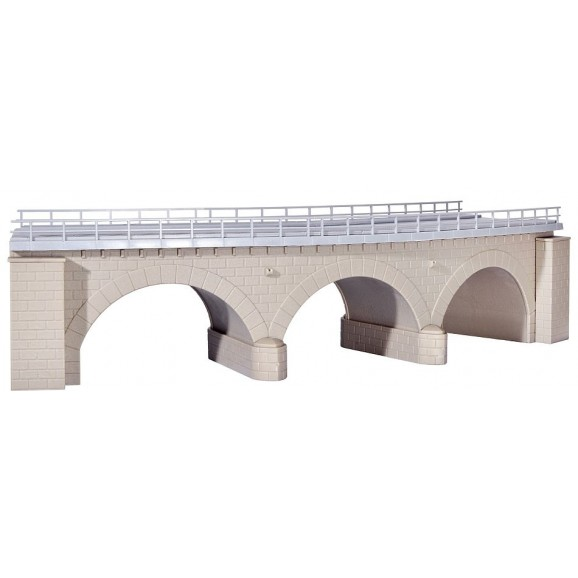 Kibri - 39722 - H0 Stone arch bridge with ice breaking pillarscurved, single track