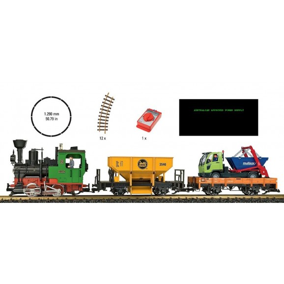 LGB - 70403 - Freight Train Starter Set Sound,Smoke Approved Australia Power Pack G Gauge 1:22.5