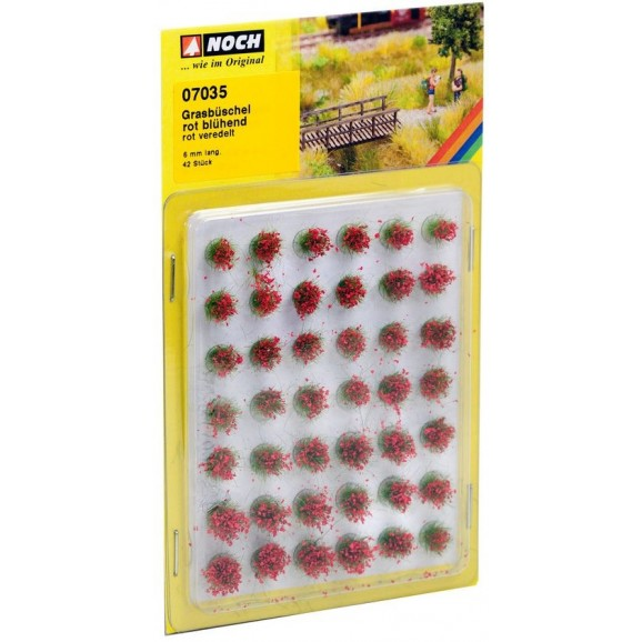 NOCH - 07035 - Grass Tufts blooming red, 42 pieces, 6 mm G,0,H0,TT,N,Z