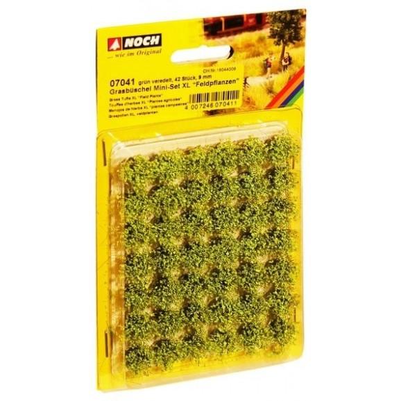 NOCH - 07041 - Grass Tufts Mini Set XL Field Plants Green Flock 42pcs 9mm