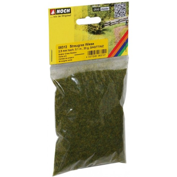 NOCH - 08312 - Scatter Grass Meadow 2,5 mm, 20 g G,0,H0,H0E,H0M,TT,N,Z