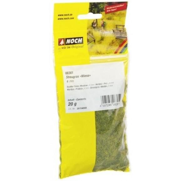 NOCH - 08361 - Scatter Grass Meadow 4 mm, 20 g 0,H0,TT,N,Z SCALE