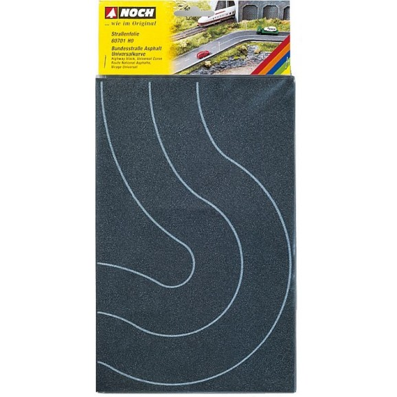 NOCH - 60701 - Federal Road Curve Asphalt, 2 pieces, each 8 cm wide H0