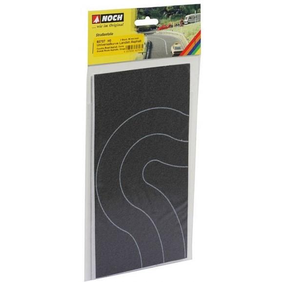 NOCH - 60707 - Country Road Curve Asphalt, 2 pieces, each 6,6 cm wide H0