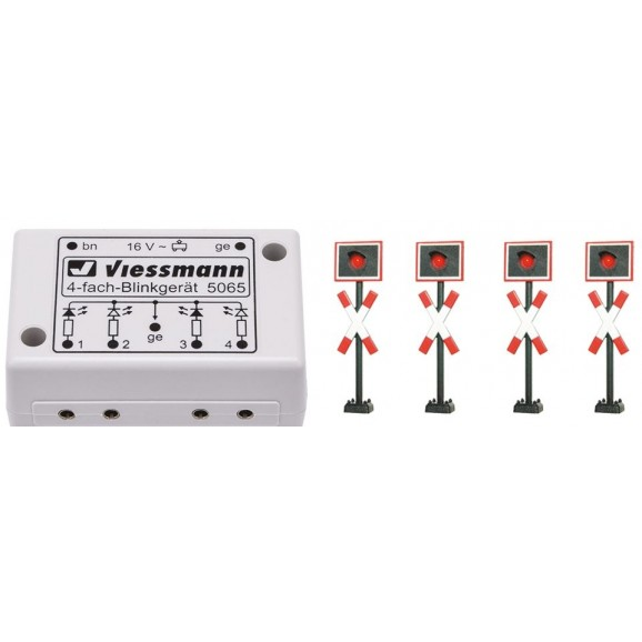 Viessmann - 5835 - H0 St. Andrew`s crosses, 4 pieces with blinkerelectronics
